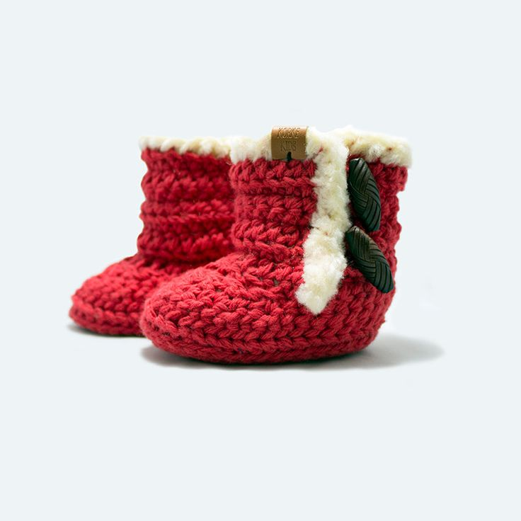 Crochet Baby Snuggie Boots Size 3-6M: Red K1022 by KorkeKids on Etsy