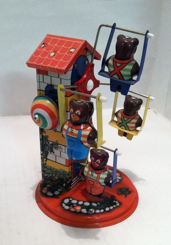 Vintage Tin Toy Wind-Up Carnival Ride with Bears