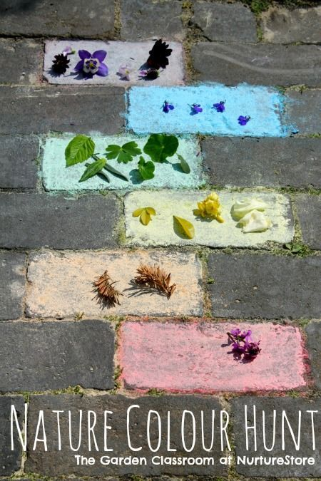 Colour matching game. Great ideas for learning about colors. Lots of outdoor learning ideas on this site!