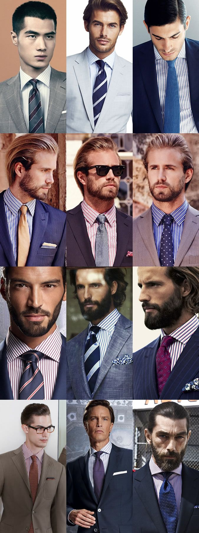 Men 39 s striped shirts and tie combinations lookbook from Blue suit shirt tie combinations