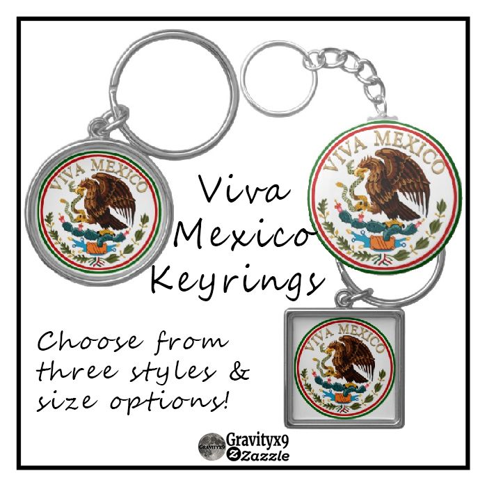 Viva #Mexico Mexican Flag Icon w/ Gold Text Keychains by #Gravityx9 at Zazzle ~ #keyring #vivamexico #smallsizedgifts #stockingstuffers