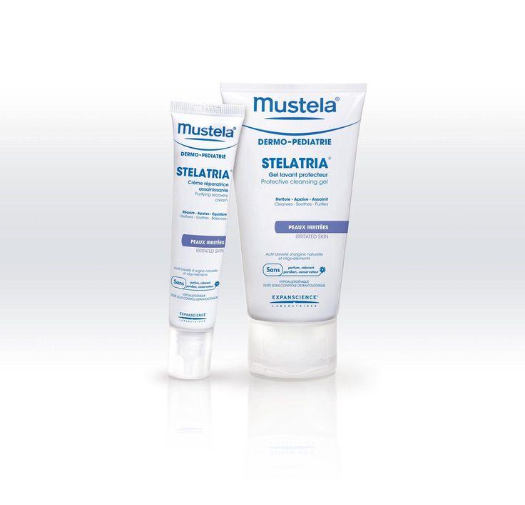 Mustela Stelatria | Crème voor de verzorging van lokale irritatie en roodheden bij baby's en kinderen. | Beschermende wasgel voor dagelijkse hygiëne van een geïrriteerde huid.