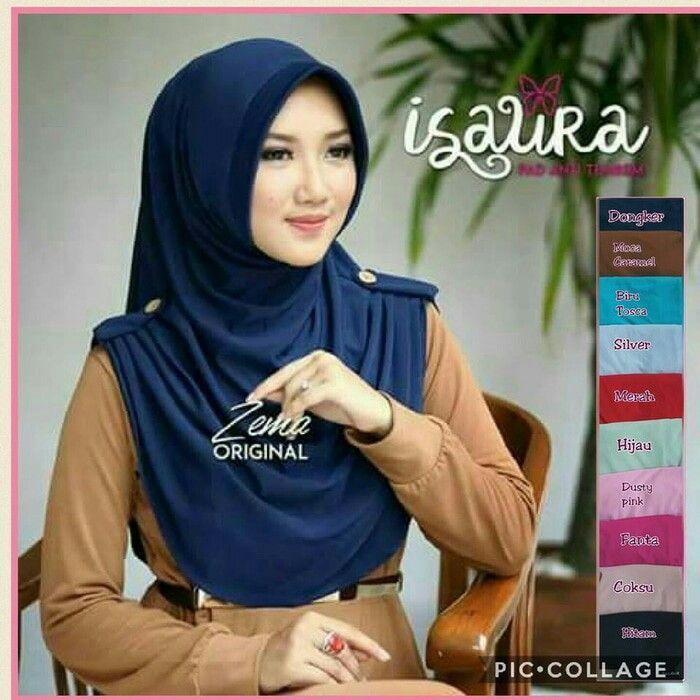 Jilbab instan elisa / isaura pad, jilbab yang menggunakan pad anti tembem dipercantik dengan hiasan kancing pada atas lengan kanan dan kiri, bahan jersey, kerudint modern