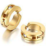 #9: JewelryWe 大切な人や,彼氏・彼女へのプレゼント:ジュエリー ファッション アクセサリー 2個 メンズ レディース ピアス,イヤーカフ フープピアス, ジルコニア ダイヤ,おもしろ,ステンレス,カラー:ゴールド(金)
