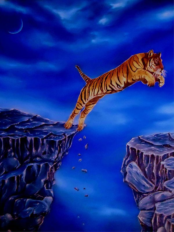 Poster,   animal,wildlife,tiger,jumping,nature,mountains,scene,night,moonlight,big,cat,mamal,nightscape,rocks,cliffs,dark,blue,beautiful,image,fine,oil,painting,contemporary,scenic,modern,virtual,deviant,wall,art,awesome,cool,artistic,artwork,for,sale,home,office,decor,decoration,decorative,items,ideas