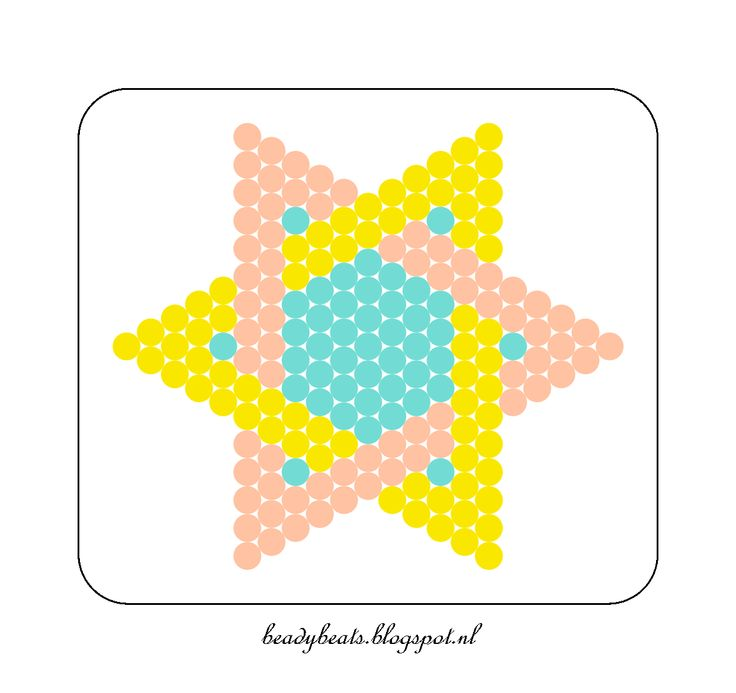 Beady Beads - Star 5d. Perler / Hama / Fusion / Melty / Pyssla Beads. Free Pattern Card! Visit my blog for more free patterns.