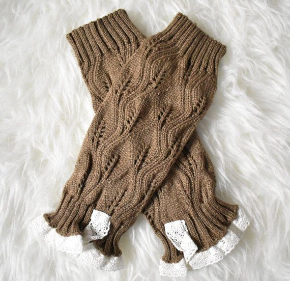 Knit Baby Leg Warmers Brown leg warmers by RascalsRhinestones