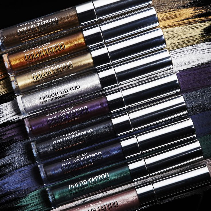 Maybelline Color Tattoo Eye Chrome  liquid shadow glides on lids for a vivid metallic look. Metallic intensity and tattoo tenacity brilliantly combine to saturate your lids in liquid chrome shine for up to 24 hours. This is the drugstore metallic makeup product you need this summer.