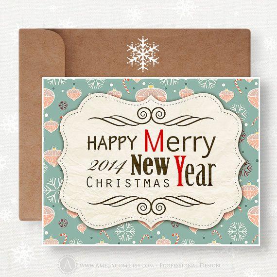 Noël imprimable & Happy New Year Card - Unigue drôle carte instantanée téléchargement Teal de flocons de neige vacances rétro bricolage Noël...