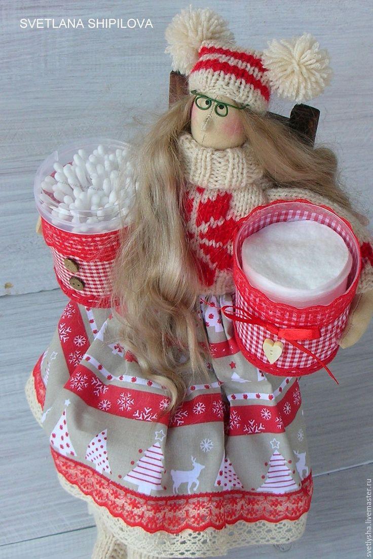 Купить Хранительница ватных палочек и дисков - тильда, тильда кукла, тильда ангел, хранительница