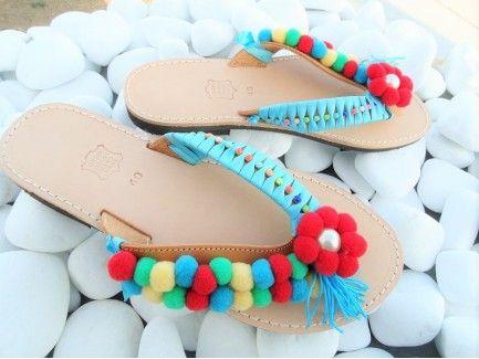 Red Daisies Pom pom Sandals