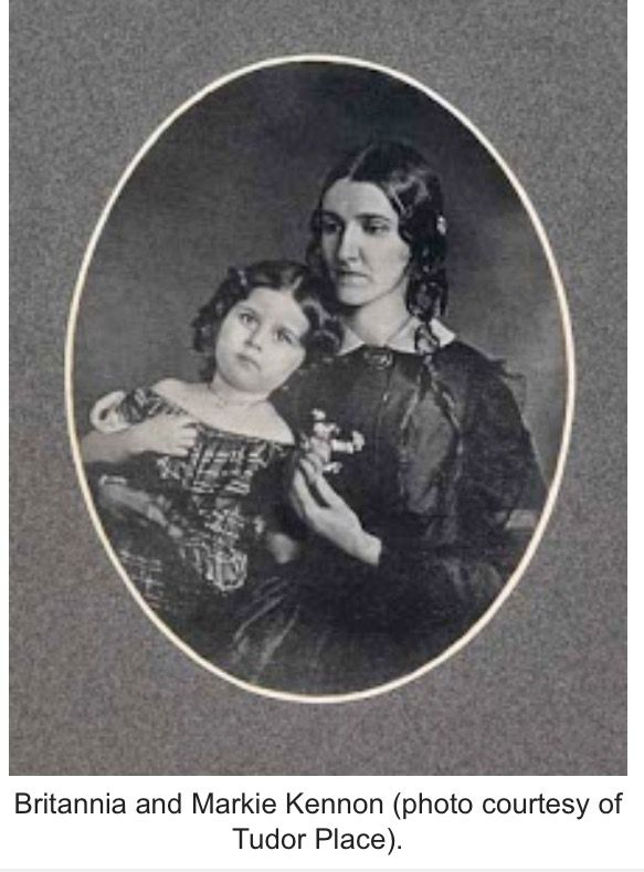 Markie Custis as a little girl with her mother Britannia; Britannia, first cousin to Mary Anna Randolph Custis was a bridesmaid at the wedding of Mary and Robert E. Lee