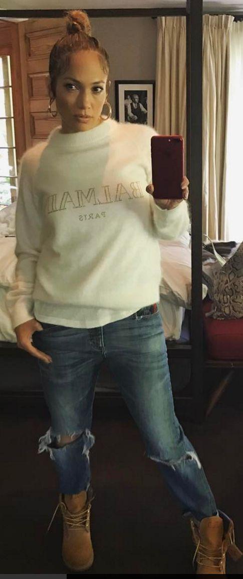Jennifer Lopez in Sweatshirt – Balmain  Shoes – Timberland