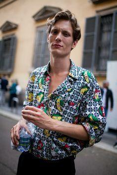 Street style at Milan Men's Fashion Week Spring 2017 | button up shirts