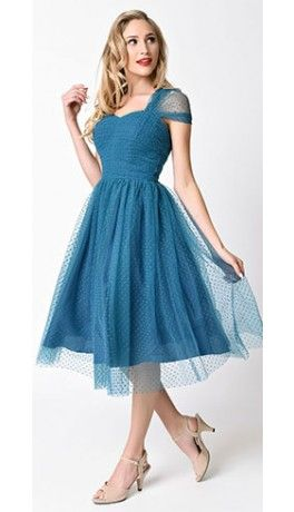 Unique Vintage 1950s Style Teal Swiss Dot Garden State Mesh Dress