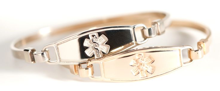 14k Bangle Yellow Gold Medical ID Bracelets... I WANT THIS!!!!!