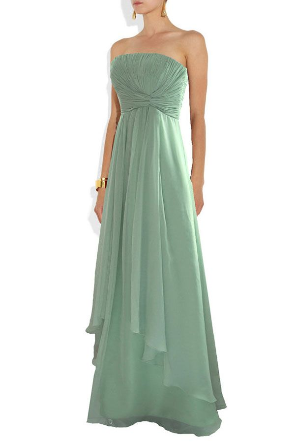 This Floor Grazing Chiffon And Satin Pastel Green Gown Would Make For An Elegant