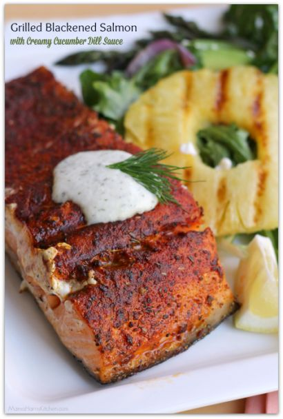 Blackened Salmon seasoned to perfection then prepared on the grill is served with a dollop of creamy cucumber dill sauce to balance the flavors. Delightful!