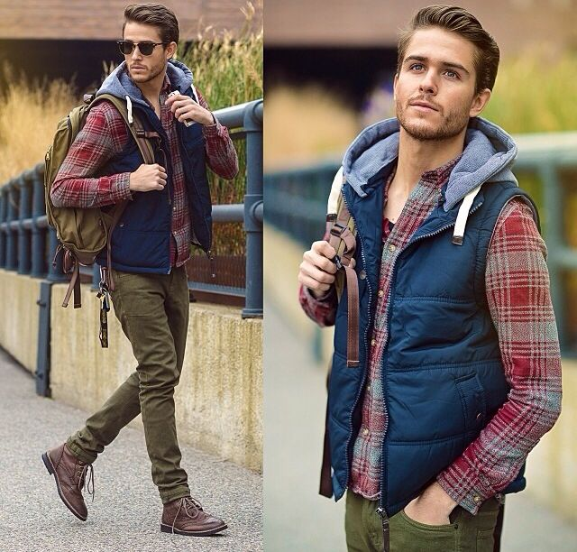 :O Vest and flannel on my man