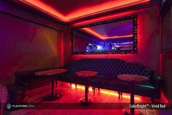 ColorBright Vivid Red LED strip lighting create an alluring visual atmosphere for clients at this cocktail bar #led #striplights