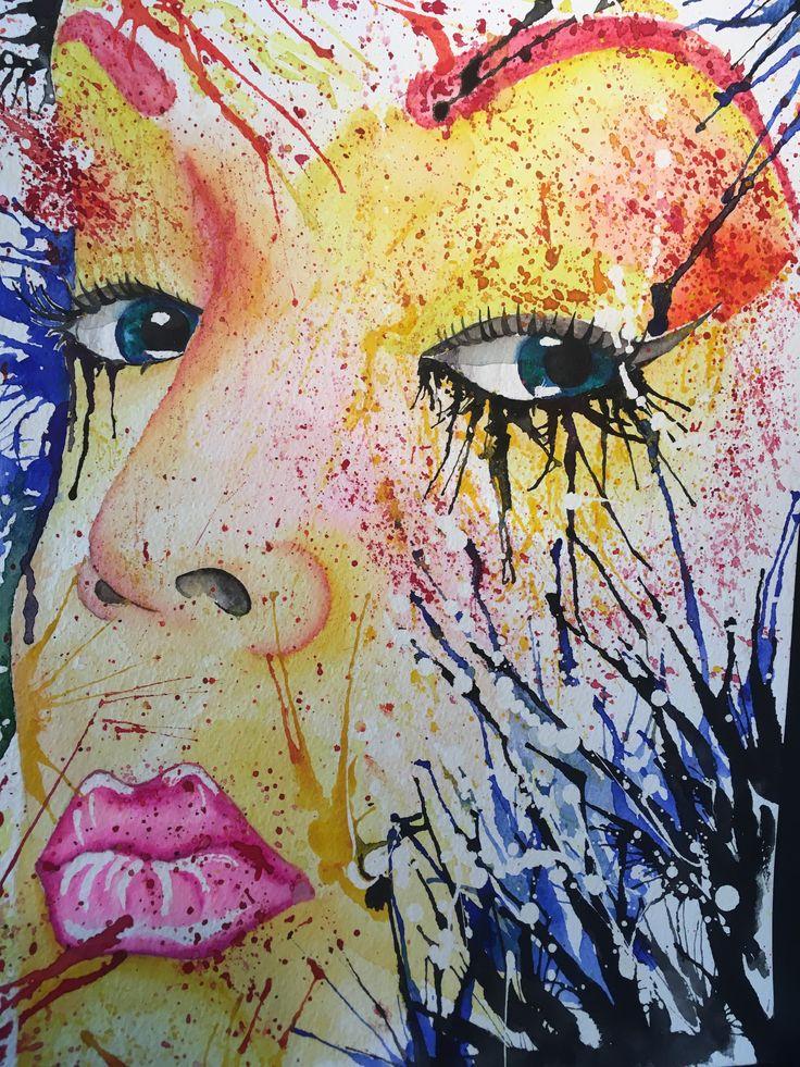 Watercolor, Swedich art, Ladies of Collor, lips💋
