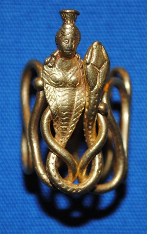 Ring Depicting Isis and a Snake, Roman, 1st century AD. The British Museum