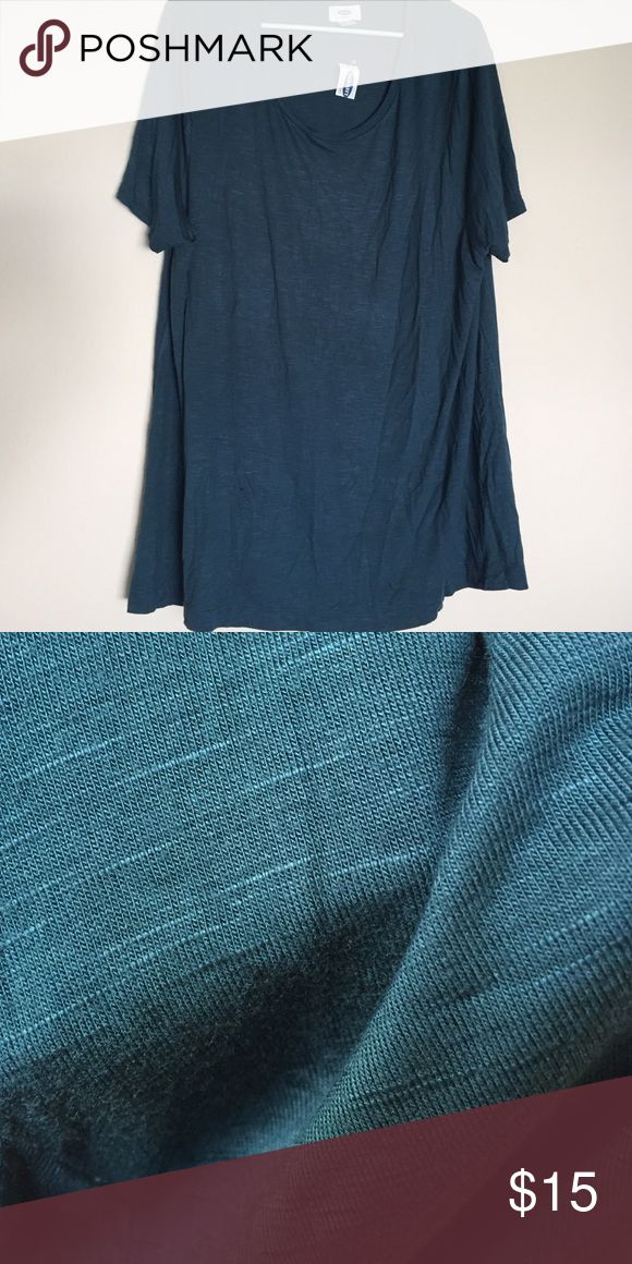 Old Navy short sleeve top This top is brand new, never worn. It is a really pretty shade of blue (I would describe it as a dark teal), and has a slightly heathered look. Old Navy Tops