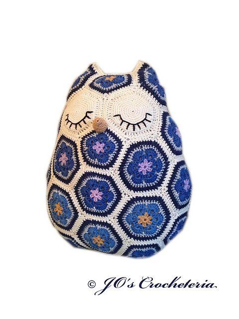 Ravelry: Maggie the African Flower Owl Pillow Crochet Pattern pattern by JOs Crocheteria