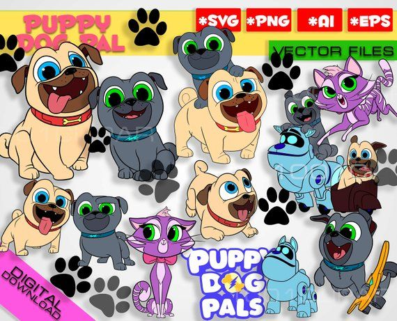Puppy Dog Pals Svg 13 Files Rolly Bingo Hissy A R F Clipart Puppy Dog Pals Bingo Bob Party Puppy Do Dogs And Puppies First Birthday Party Themes Puppy Party