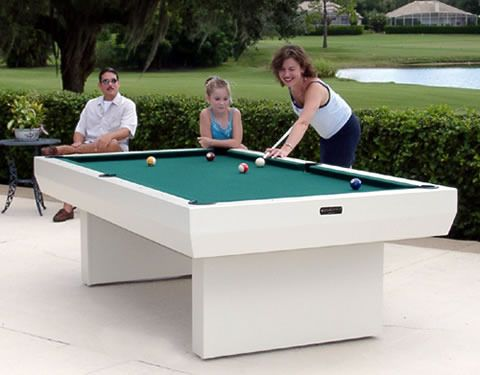 I want one!.......Outdoor pool table! How fun for the the kids and mom and dad in the summer!  8 Foot All Weather Outdoor Pool Table Billiards White Game Table Durable Modern
