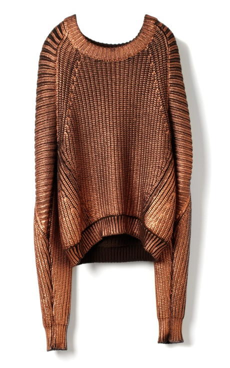 PHILLIP LIM, METALLIC SWEATER bronze is so under-appreciated Fashion style, best sweater over size