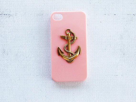 Coque de téléphone rose pastel avec joli ancre en or - Pink iPhone 4 4s Case Anchor iPhone 4 Smartphone Cover Case Hipster iPhone 4 Case Retro iPhone 4s Cover Hard Case Pastel Pink Baby Pink