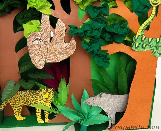 Rainforest Habitat Diorama animals