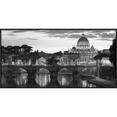 Global Gallery Night View at St. Peters Cathedral, Rome Framed Photographic Print on Canvas in Black and White Size: 1