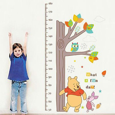 WINNIE THE POOH Height Chart Kid Growth Measure Home Nursery Wall Sticker Decals