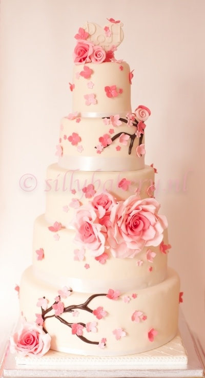 Wedding cake Blossom  By sillybakery on CakeCentral.com