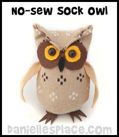 Sock Owl Craft from www.daniellesplace.com