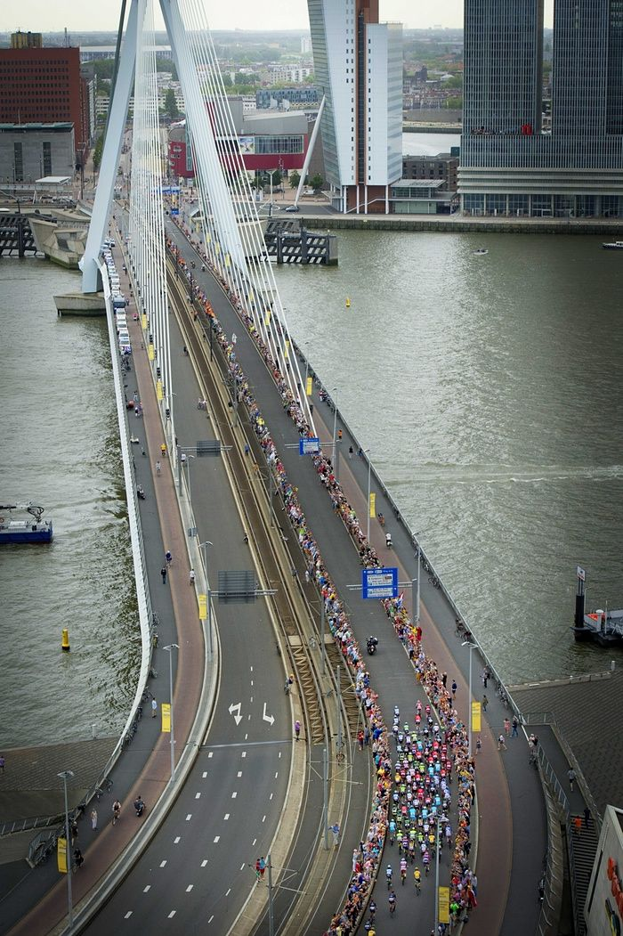 Tour de France 2015, Erasmusbrug, Rotterdam, Zuid-Holland.