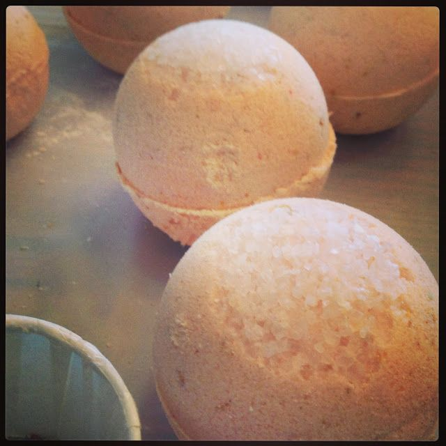 Grapefruit Bath Bombs with Dead Sea Salt topping
