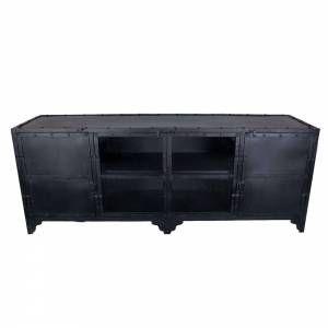 Industrieel tvmeubel 4drs zwart met glas, 449 euro, 180 cm breed, 70 cm hoog en 50 cm diep