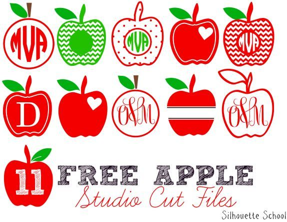 11 Free Apple Studio Cut Files for Silhouette. Great for decals or designs for Teacher Appreciation Day and End of School #Silhouette #SilhouetteTutorials #Silhouettehelp #silhouettecameo #freecutfiles