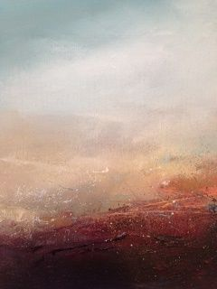 'Prowle Point' New Oil on Canvas by #local #bristol #artist Feona Ness here at #tincagallery #art #artists #artgallery #feonaness #originalart #original #canvas #oil #sea #sky #red #horizon #colours #portishead #clevedon #england #english #englishart #beautiful
