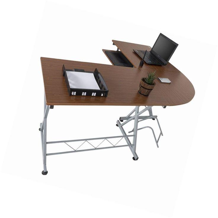 Walnut Corner Office Computer Desk Sliding Extendable Keyboard Shelf Workstation #Unbranded #Modern