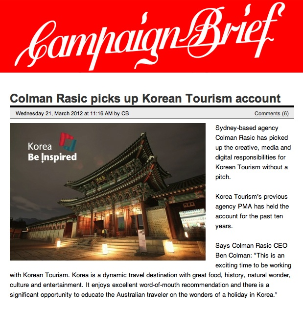 Korea Tourism Organization account win in Campaign Brief.