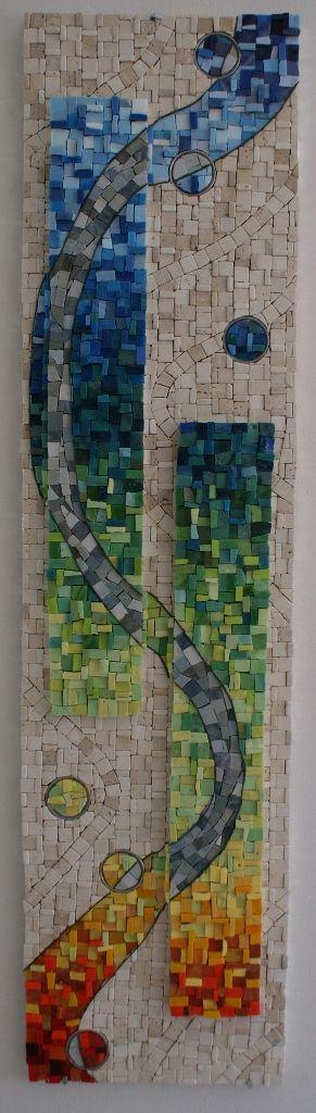 """Flow"" a mosaic by Donja. Marble, smalti, aluminium rings on Wedi board. 108cmx20cm"