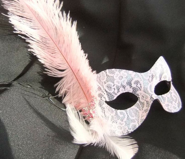 Pink lace | Baby pink lace butterfly feather masquerade mask