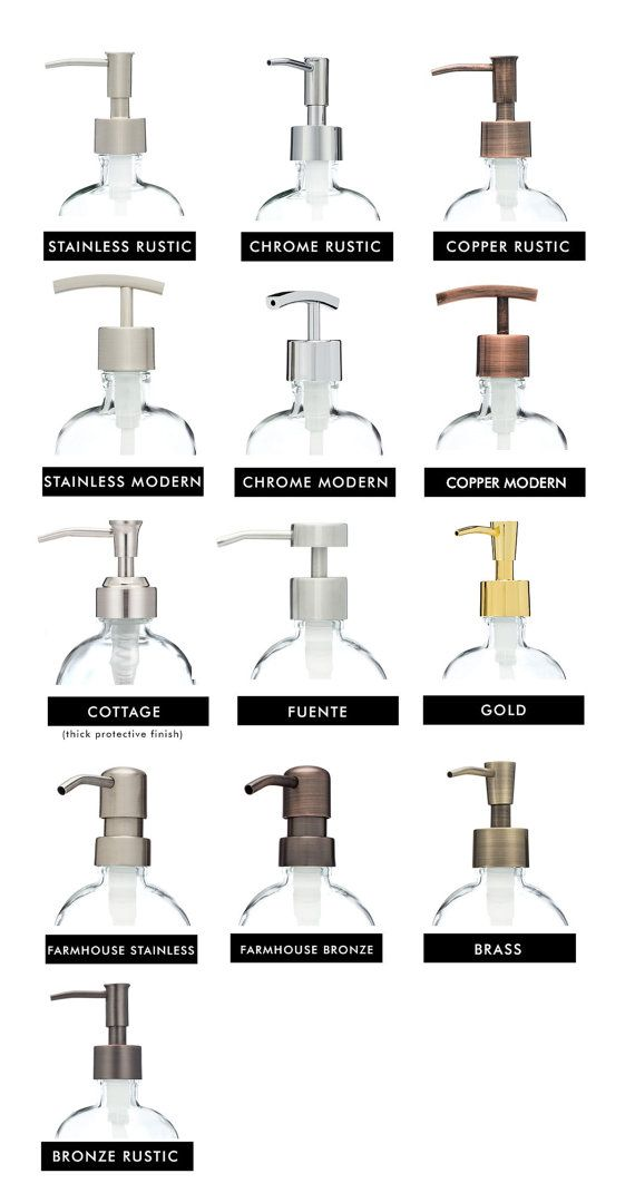 Our Real Metal Pumps fit all of our soap dispensers and are available in a variety of finishes and styles. Add our pumps to one of our soap dispensers, a liquor bottle, or purchase an additional pump to go with your order to switch styles!  Select your coordinating style - Stainless, Matte Stainless, Brass, Gold, Bronze, Chrome, Copper  * Now available Gold + Silver Self Pour Spout Tops
