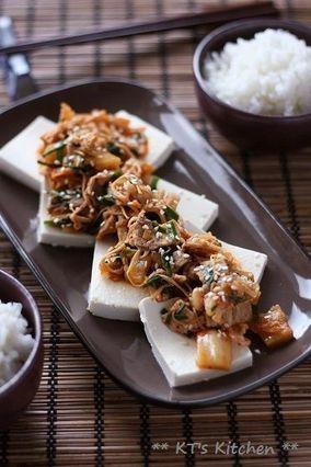 豚ニラキムチを乗っけた豆腐のおかず|レシピブログ