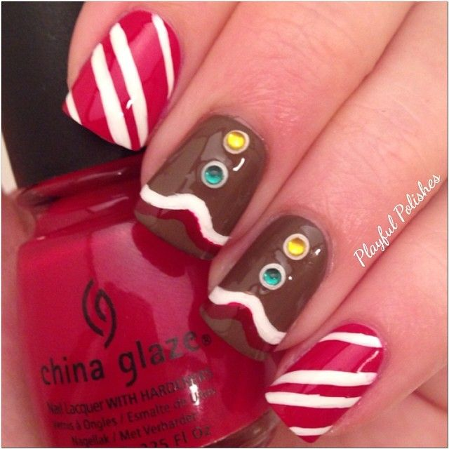 christmas by playfulpolishes #nail #nails #nailart. Cute I think I'll try it.