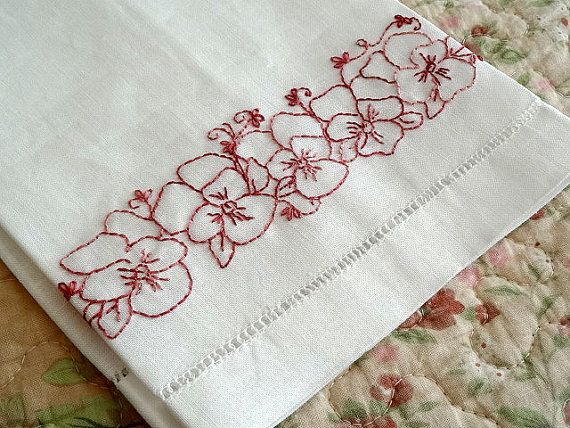 Tea Towel Hand Embroidery Kit Pansy Flowers by countrygarden